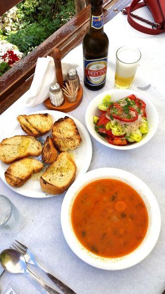 Beans soup (fasolada) and salad