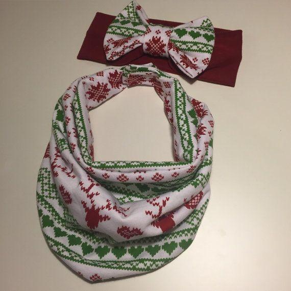 Holiday Baby Scarf Bib & Bow Headband Limited by AvileeBabyCo