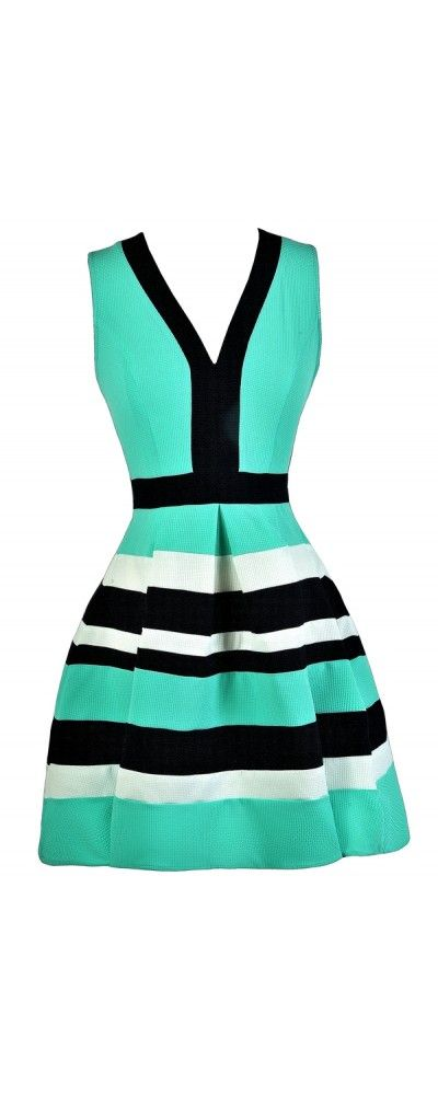 Shorelines Colorblock Stripe Dress in Navy/Green  www.lilyboutique.com