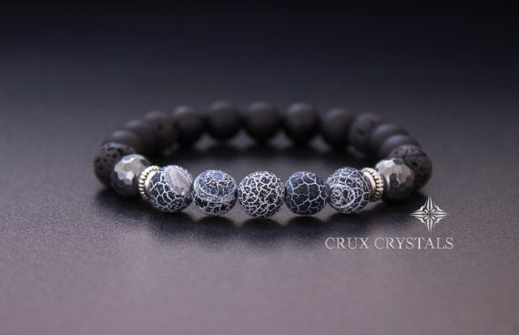 Men's Beaded Bracelet Natural Stone Stretch by CruxCrystals