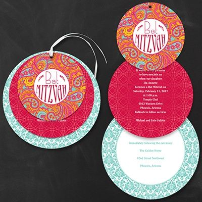 Mod Patterned Bat Mitzvah - Invitation    | 40% OFF  |  http://mediaplus.carlsoncraft.com/Parties--Celebrations/Bar--Bat-Mitzvah-Invitations/3166-NKN4461-Mod-Patterned-Bat-Mitzvah--Invitation.pro