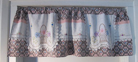 Repurpose Vintage Linen Valance, Upcycle Embroidery, Window Treatment, Window Curtains, Blue Pink Kitchen Curtain