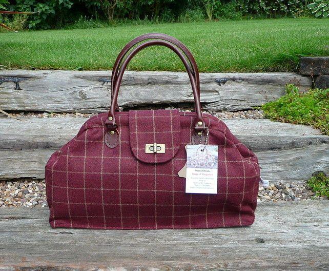 Maroon Tweed Handbag Carpet Bag Purse Tote Wool Tweed £75.00
