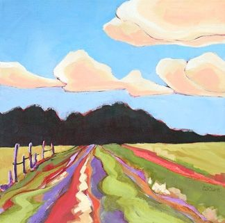 Daily Painting, That Red Georgia Clay, contemporary landscape, painting by artist Carolee Clark