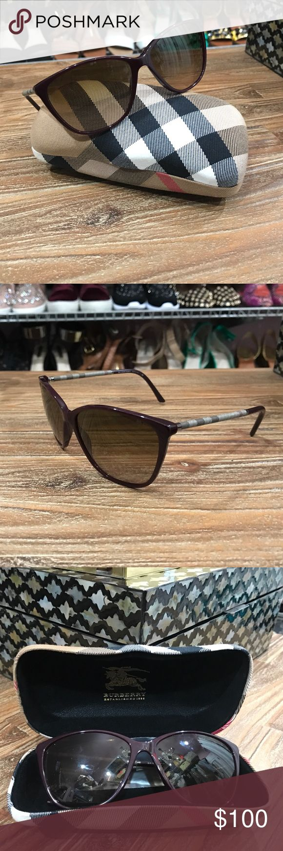 Burgandy Burberry Sunglasses Burgundy Burberry Sunglasses complete with designer case. These sunglasses will make you look cool, no matter the temperature. In great shape and barely used. Burberry Accessories Sunglasses