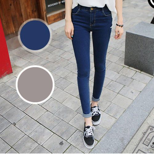 High waist women's lady's ankle-length skinny jeans deep blue black #other #SlimSkinny