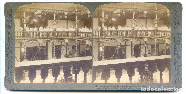 Manila Filipinas. Galería y rotonda de Tabacalera adornada para húespedes americanos, Underwood 1906 - Foto 1