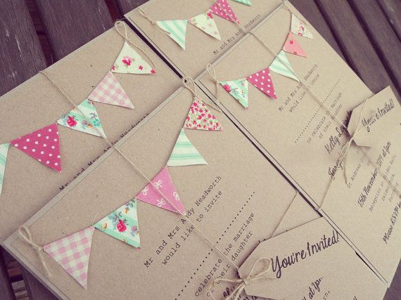 Pink and Mint Wedding Invitation - Rustic Bunting Wedding Invitation. Unique Rustic Kraft Card with colourful Bunting. Summer Fete Wedding.
