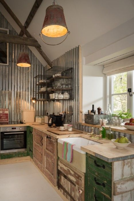 country farmhouse style - corrugated aluminium wall -Upcycled interiors in the open plan kitchen and living area