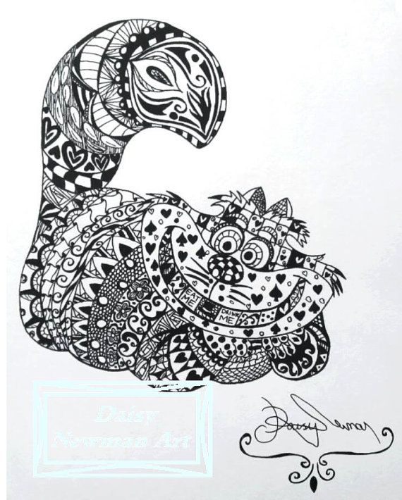Cheshire Cat Zentangle Ink Drawing- A4 High Quality Print