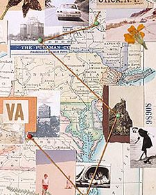 This article shares some resources for researching genealogy.  What initially caught my eye was this photo - using an old map with photos and family ephemera in either a scrapbook or on the wall is an intriguing idea.
