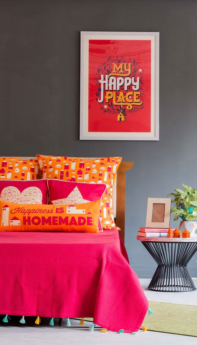 Buy Happiness Is Homemade Bed Cover Online - Chumbak