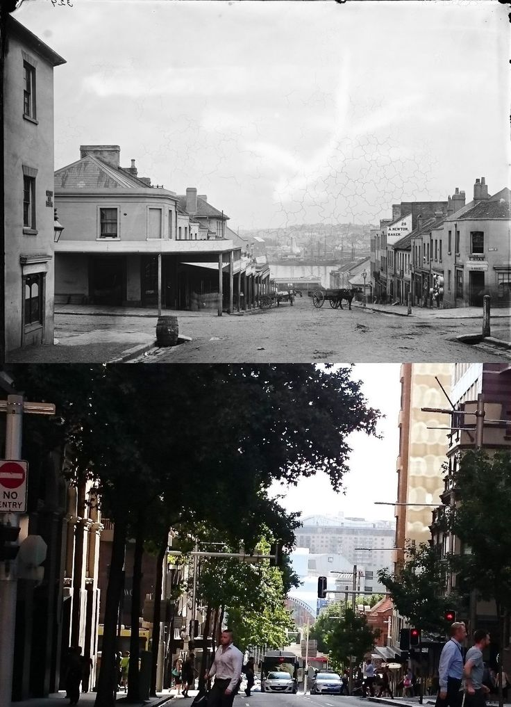 Looking west down King St from Kent and Clarence Sts c1875 > 2016 [State Library NSW > UndrCarbonSkies. By Pyrmontrosity Pyrmontosis]