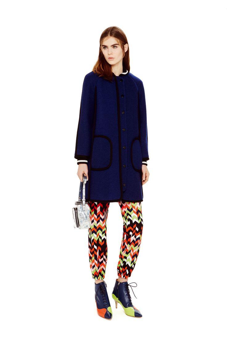 M-Missoni - DARK BLUE COAT & PRINT PANTS