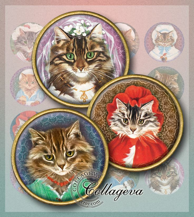 "Cat Ladies2 Digital Collage Sheet, Vintage Steampunk Cabochon Images, Bride Mother Maid Lace, 1.5"" 1.25"" 30 mm 25 mm 1 inch circles (EA04-c) by collageva on Etsy"