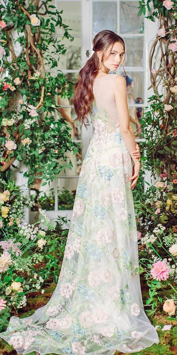 30 Floral Wedding Dresses That Are Incredibly Pretty ❤ See more: http://www.weddingforward.com/floral-wedding-dresses/ #wedding #dresses #floral