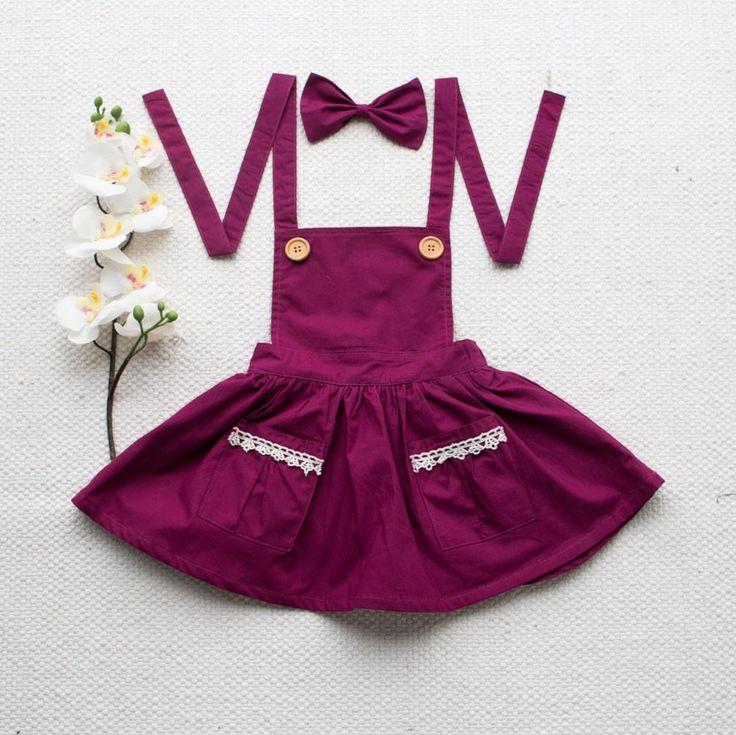 Pinafore Dress + Headband - Wine