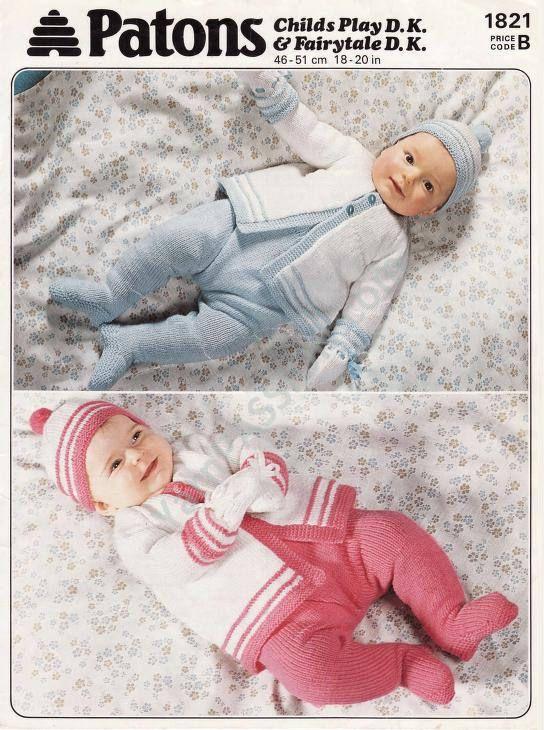 DK Vintage 1981 Patons 1821 Baby Coat Leggings and Beanies
