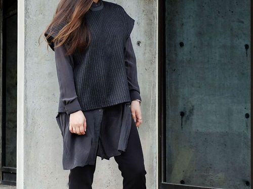 Layering with different textures to keep the outfit interesting