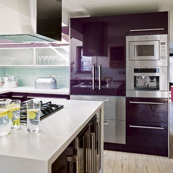 Kitchen appliances | Modern purple kitchen | Kitchen tour | PHOTO GALLERY | Housetohome... absolutely want these purple and seafoam green colors in the kitchen