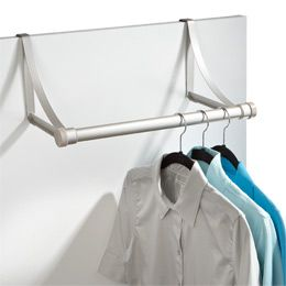 "Umbra® Hangover Overdoor Valet Rod Nickel, 19-1/4"" x 9-3/4"" x 7-3/4"" h, $19.99 [add rings to hang scarves..?]"