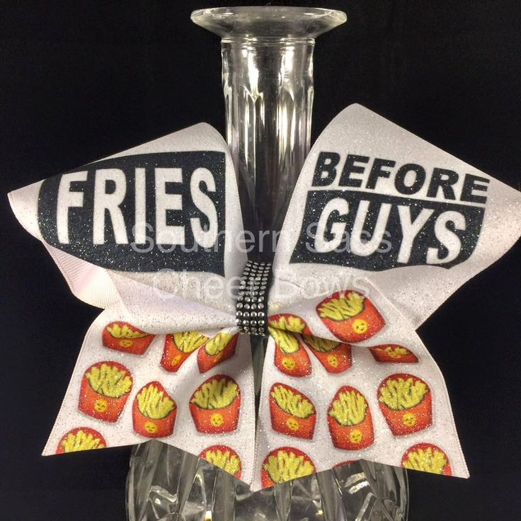 Glitter Cheer Bow Fries Before Guys cheer bow by SouthernSassCheerBow on Etsy