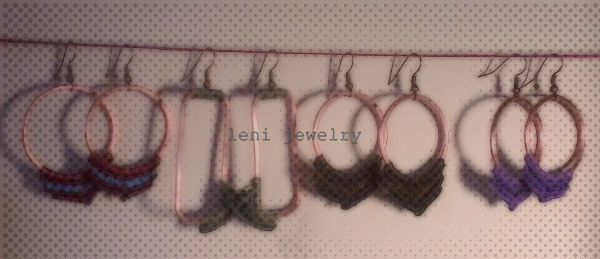 "Cooper earrings with macrame. ""Geometry"""
