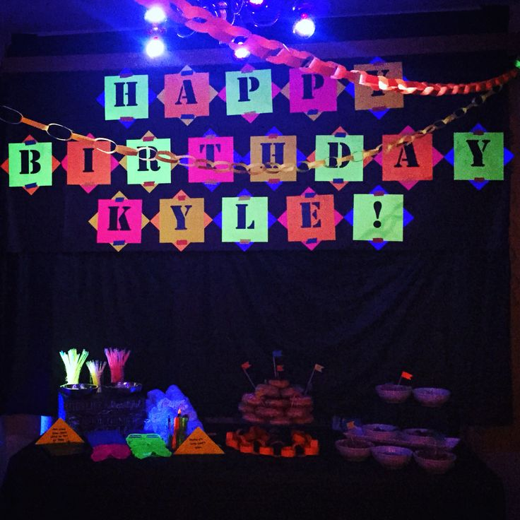 Teen boy Bday party; neon glow in the dark