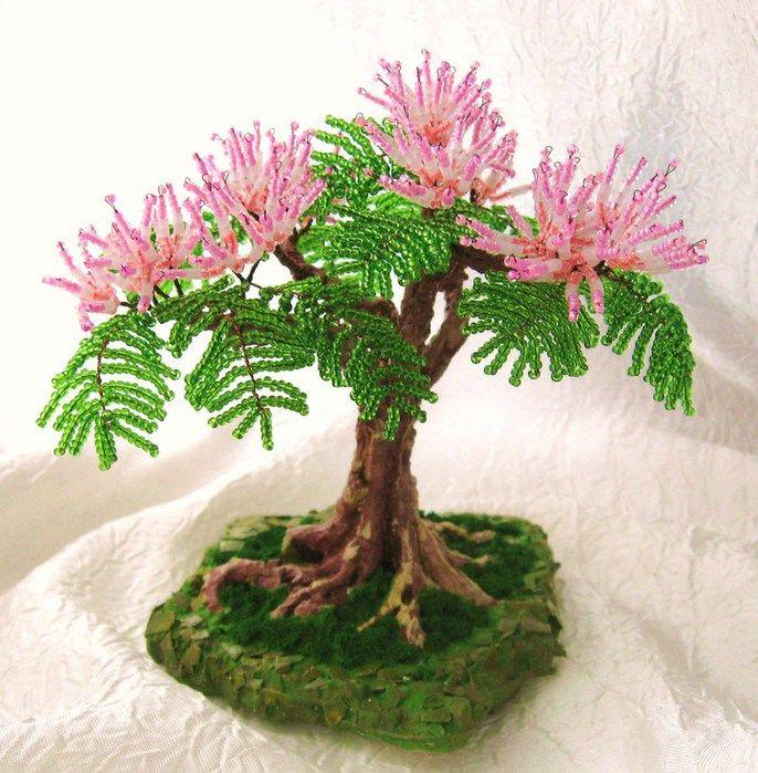 альбиция из бисера, дерево из