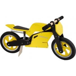 Geel-zwarte Kiddimoto superbike loopfiets    Steel de show met deze fantastische MotoGP superbike replica, gebaseerd op de echte racemotoren.  Met deze loopfiets ontwikkel je razendsnel een goede balans, coördinatie en motoriek waardoor de overstap naar de echte fiets haast vanzelf gaat.  Deze superbike is een stoer, orgineel en leerzaam kado waarmee bij ieder kind een lach op het gezicht getoverd wordt.