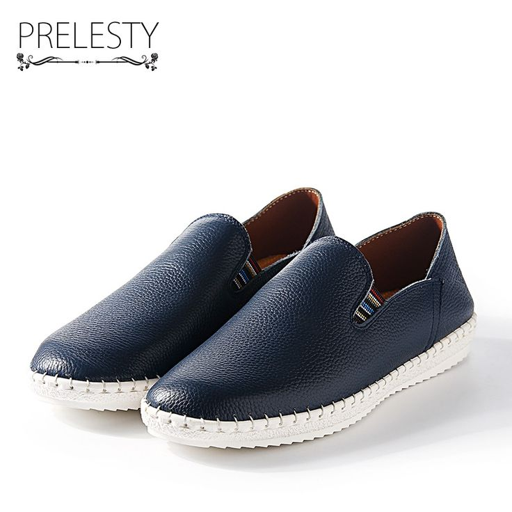 Prelesty Big Size 38-47 Genuine Cow Leather Men Casual Shoes Breathable Soft Driving Plus Size Men'S Handmade Chaussure Homme
