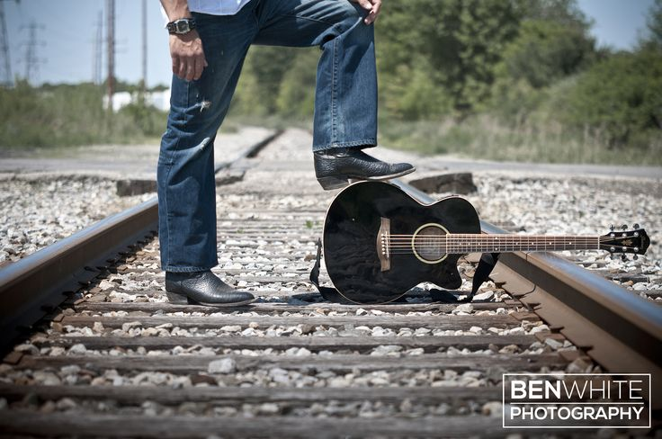Guys Senior Portraits and Poses - Guitar, Cowboy Boots, and Train Tracks.
