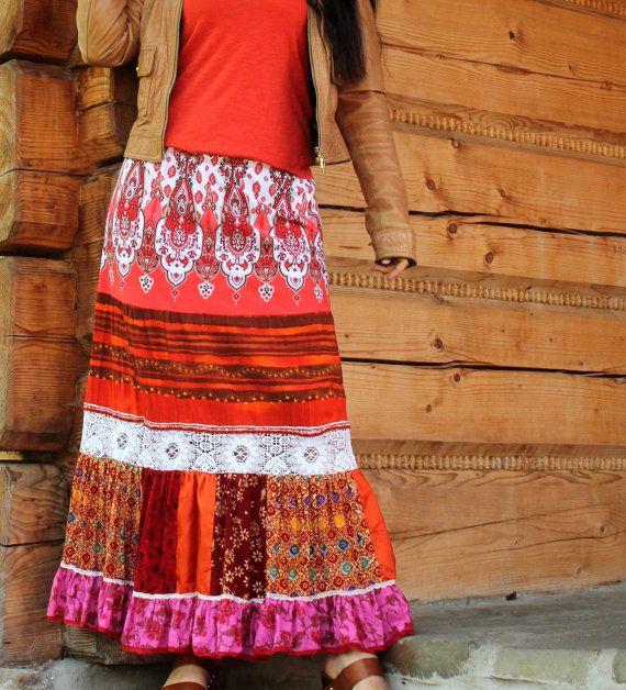 GRANDE vente M-L Sweet chaud couleurs romantique jupe longue