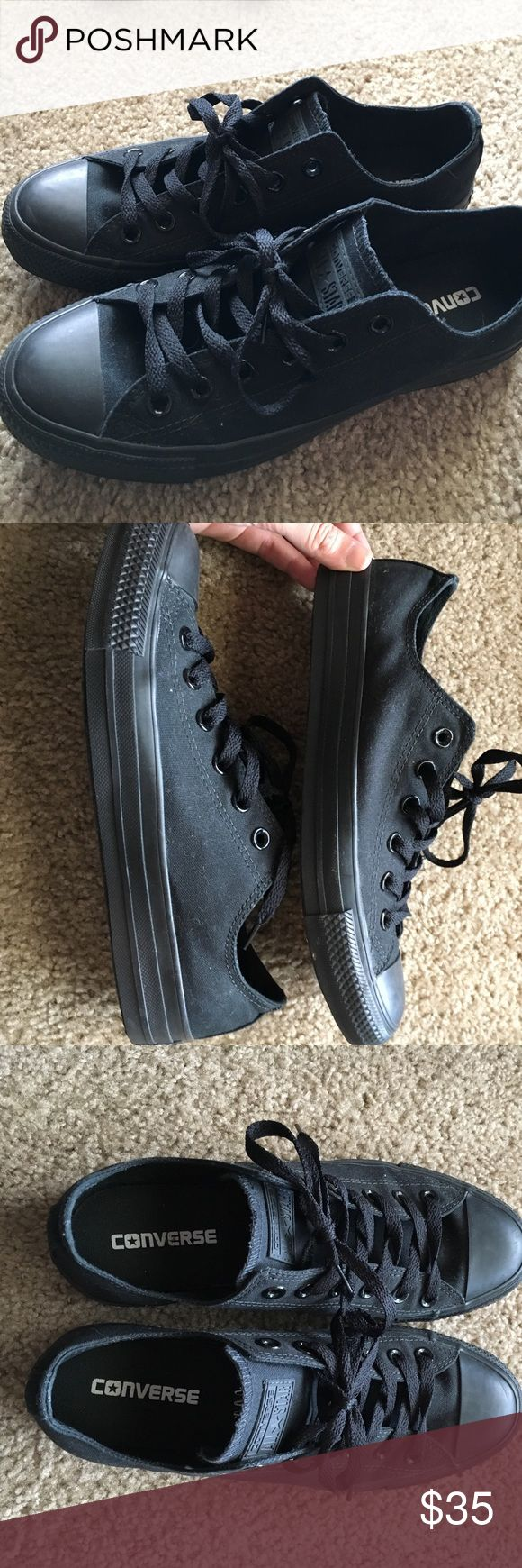 Black converse low tops sz W 9 M 7 Black low top converse worn one time and in excellent condition. Women's size 9, Men's size 7. Converse Shoes Sneakers