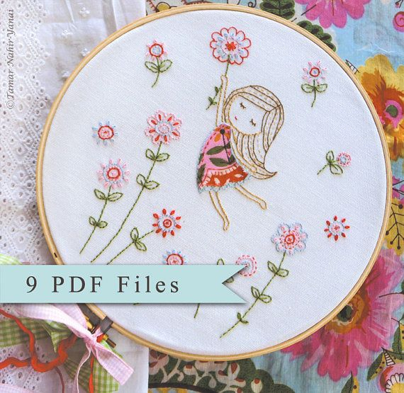 Embroidery Pattern, Instant Download - 9 PDF Files