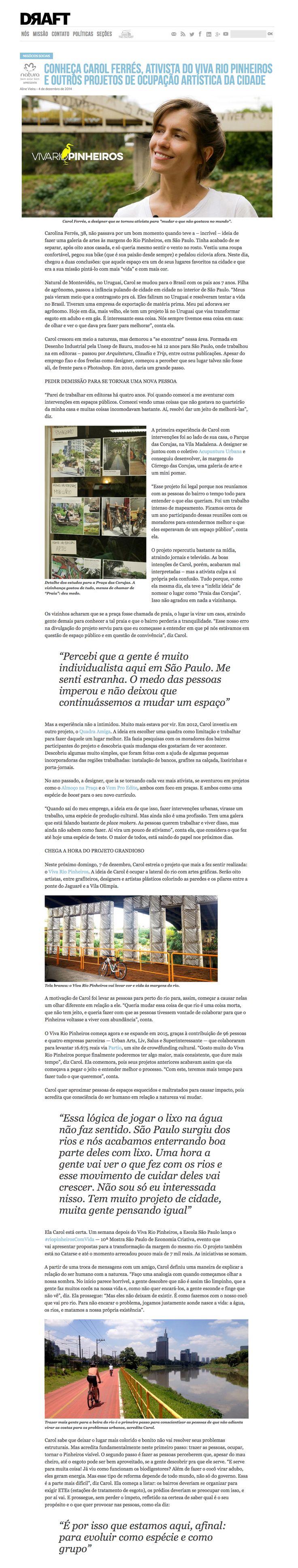 Meet Carol Ferrés, Viva Rio Pinheiros activist and other artistic occupation projects