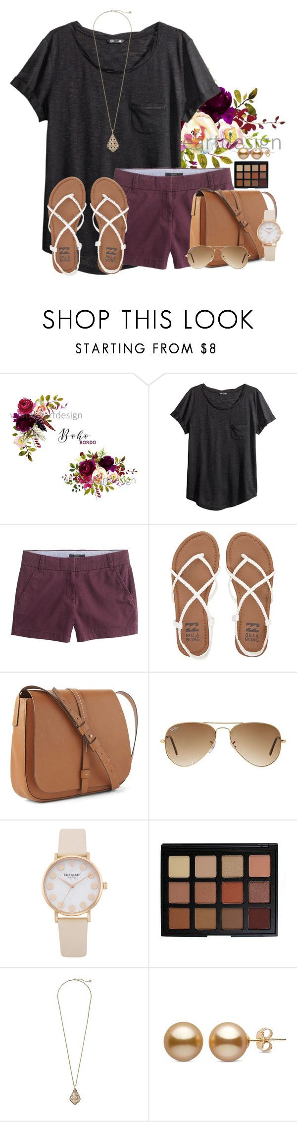 """~Im loving it~"" by victoriaann34 ❤ liked on Polyvore featuring H&M, J.Crew, Billabong, Gap, Ray-Ban, Morphe and Kendra Scott"