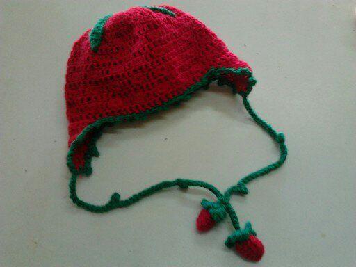 βελονακι σκουφακι φραουλιτσα crochet strawberry hat