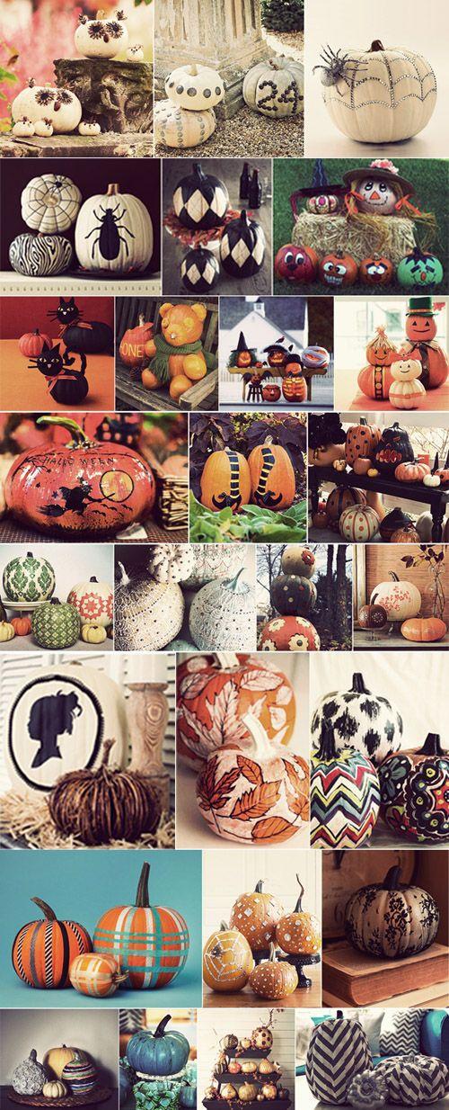 38 Pumpkin Carving + Decorating Ideas http://atelierchristine.com/archives/3205 #Halloween #holiday #diy #fall #kid #craft