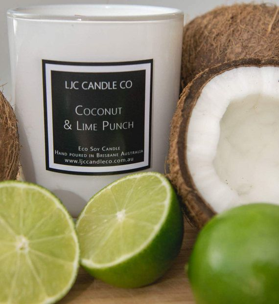 Large COCONUT & LIME PUNCH Soy Candle. 90 Hour burn by LJCCandleCo