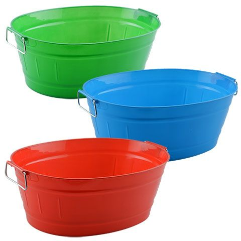 Oval Plastic Storage Tubs with Hinged Handles in Holiday Colors