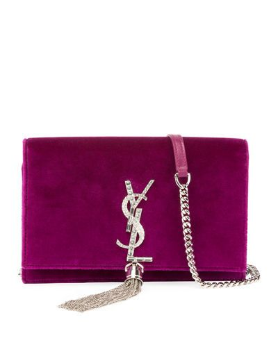 8d1ad7c19232 V3TNL Saint Laurent Kate Velvet Crystal-Monogram Tassel Wallet on Chain