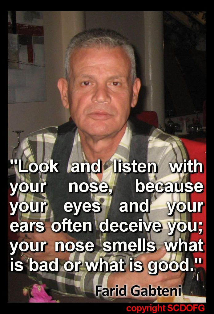 """Look and listen with your nose, because your eyes and your ears often deceive you; your nose smells what is bad or what is good."" (Farid Gabteni)"