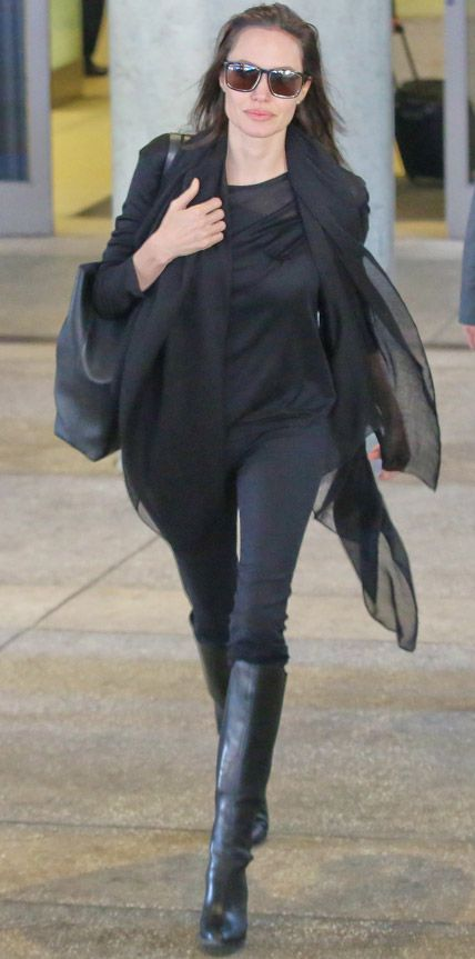 102 Celebrity-Inspired Outfits to Wear on a Plane - Angelina Jolie from #InStyle