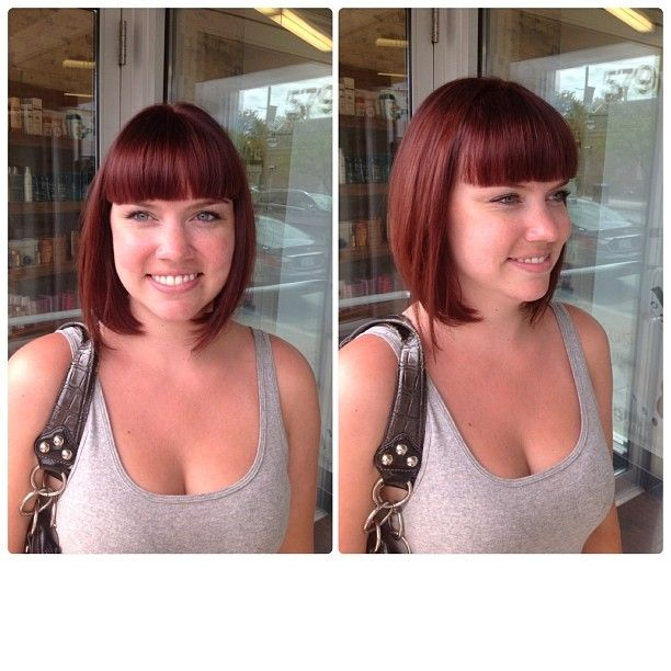 This stunning red bob was created by Salon Entrenous Stylist Lola!