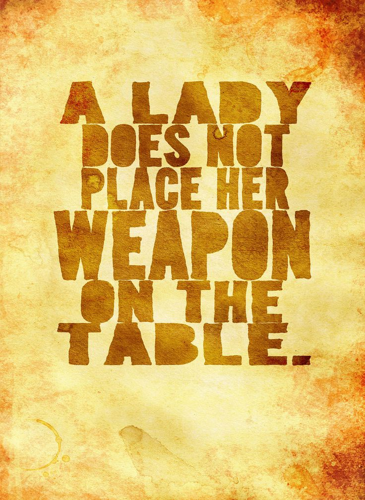 "Hold it right there, Merida. Inara says ""Every well-bred petty crook knows that the small, concealable weapons always go to the far left of the place setting."" Your weapon can be on the table as long as it's in the correct place."