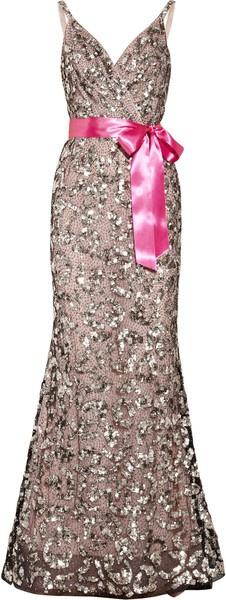 OSCAR DE LA RENTA Sequined Tulle and Silk-chiffon Gown
