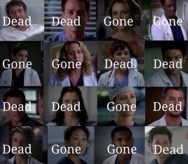 Ellis Grey - Dead... Adele Webber - Dead... Nurse Rose - Gone.. Finn Dandrige - Gone... Thatcher Grey - Gone... #GreysAnatomy #Shit @desireelatonya