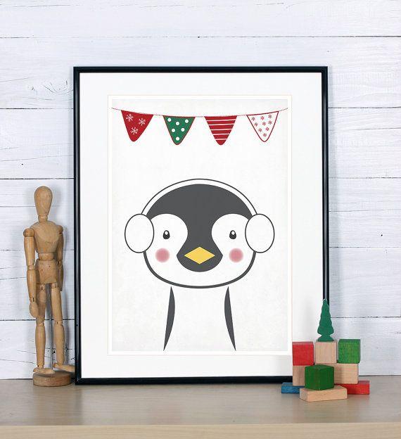 Cartel Retro, decoración de Navidad, pingüino, impresión de arte vintage, Foto vivero, decoración de la pared, decoración retro, lindo animalito, Ártico, empavesado