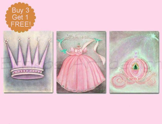 Kids Nursery Prints: Princess Nursery Art Cinderella Pink wall Art SET ...
